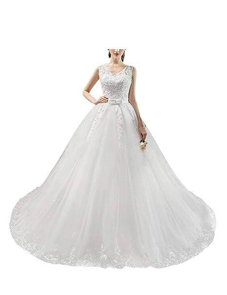 besbomig Mujeres V-Cuello Vestidos de Boda Princesa A-Line ...