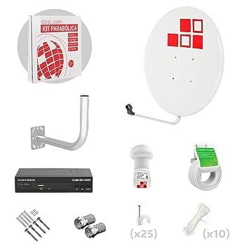 Diesl.com - Kit Parabólica 80cm + LNB + Soporte + 25 Metros de cable + Receptor Satélite + Tacos a pared + Conectores + 10x Bridas + 25 Grapas: Amazon.es: ...