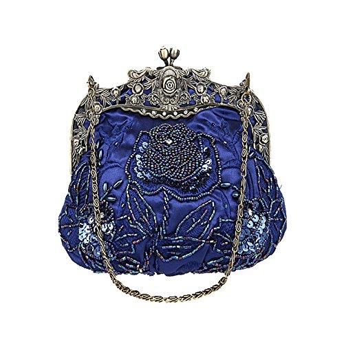 ANDAY Women's Vintage Flower Beaded Sequins Cameo Chain Handbag Clutch Purple Dark Blue
