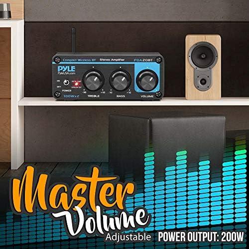 Bluetooth HiFi Mini Audio Amplifier – Class D Digital Desktop PC Stereo Amplifier Receiver (2 x 100 Watt MAX) Aluminum Diecast- Pyle PDA20BT 51sVa9SLAaL