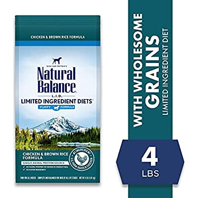 Natural Balance L.I.D. Limited Ingredient Diets Dry Dog Food, 4 Pounds, Chicken & Brown Rice Puppy Formula