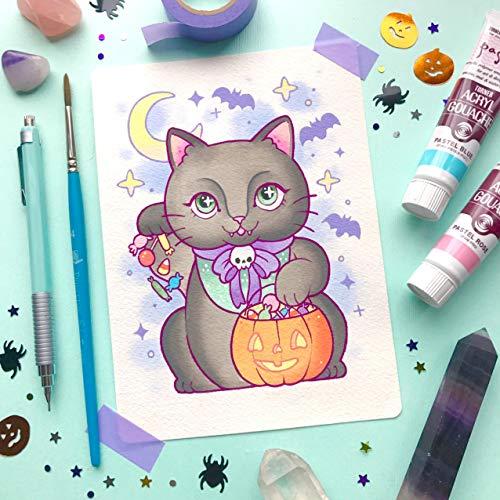 Halloween Spooky Black Cat Maneki-neko Tattoo Flash PRINT by Michelle Coffee -