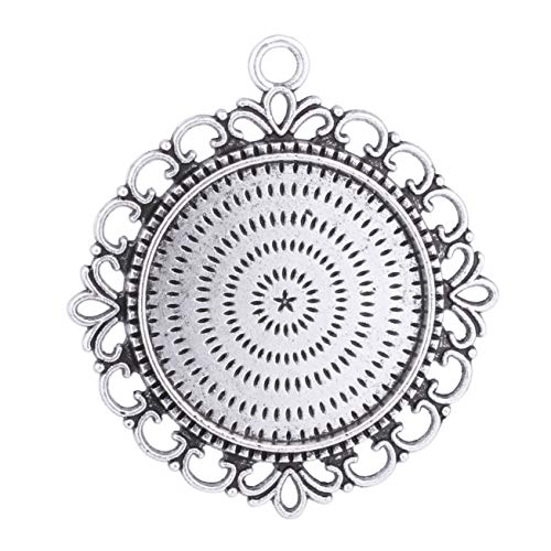 (12pcs 25mm Round Antique Silver Trays Bezels Cameo Setting Cabochon Pendant Charms for Crafting DIY Neckalce Jewelry Making)
