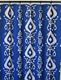 Pair of rod curtains 50'' wide panels blue ivory ikat floral bay window treatment nursery cotton drapes 84 96 108