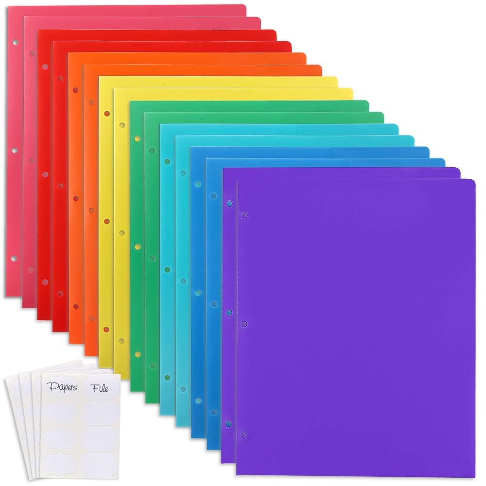 EOOUT 16Pcs Plastic Pocket Folder with 4 Pockets, 3 Prongs and 2 Business Card Slots, Multicolor, with 3 Stickers