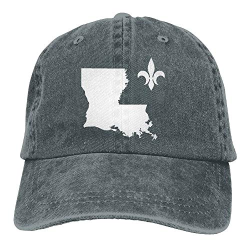 Louisiana Map with Fleur De Lis Symbol Dad Hat Adjustable Denim Hat Classic Baseball Cap