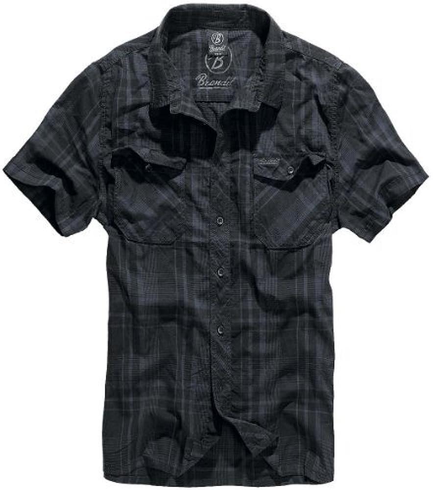 Brandit Roadstar - Camisa Casual - con Botones - Manga Corta - para Hombre - Negro/Azul - M: Amazon.es: Ropa y accesorios