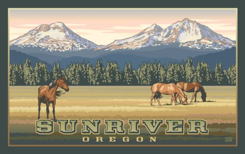 Northwest Art Mall Sunriver Oregon Three Sisters Mountains and Horses Unframed Prints by Paul B Leighton, 11-Inch by 17-Inch