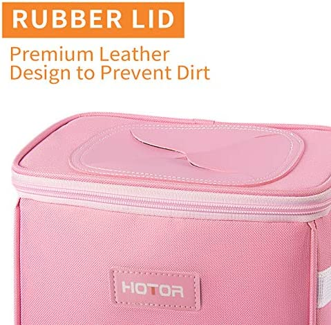 HOTOR Car Trash Can with Lid and Storage Pockets, 100% Leak-Proof Car Organizer, Waterproof Car Garbage Can, Multipurpose Trash Bin for Car - Pink