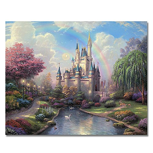 (Rihe Diy Oil Painting, Paint by Number kit-Rainbow Castle 1620 inch)