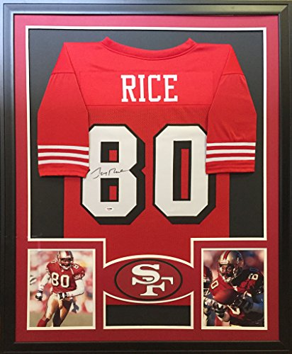 (Jerry Rice San Francisco 49ers Signed Autographed Custom Framed Red Shadow Jersey 2 Pic PSA/DNA Certified)