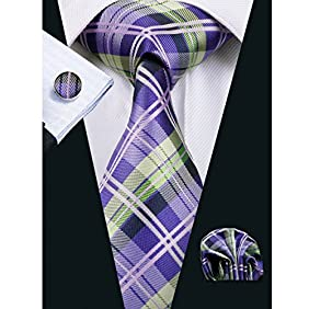 Hi-Tie Mens Classic Plaid Necktie Set include Hanky Cufflink