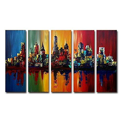 FLY SPRAY 5-Piece 100% Hand-Painted Oil Paintings Panels Stretched Framed Ready Hang Coast Cities Buildings Sea Modern Abstract Canvas Living Room Bedroom Office Wall Art Home Decoration (Outdoor Furniture Sales Gold Coast)