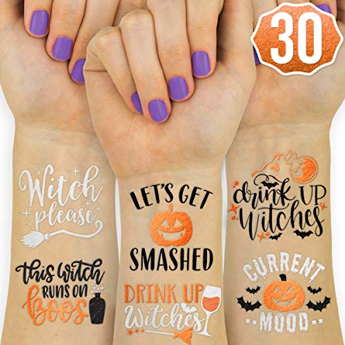 Cute Halloween Tattoo Flash (xo, Fetti Halloween Decorations Temporary Tattoos - 30 styles | Drink Up Witches, Witch Please, Halloween Party)