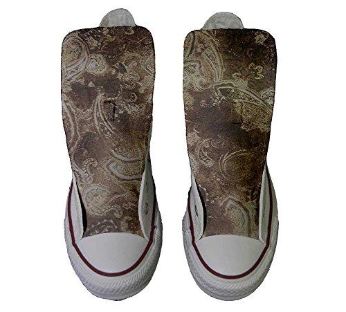 Converse All Star Hi Toile, Chaussures Personnalisées (chaussures À La Main) Gold Paisley
