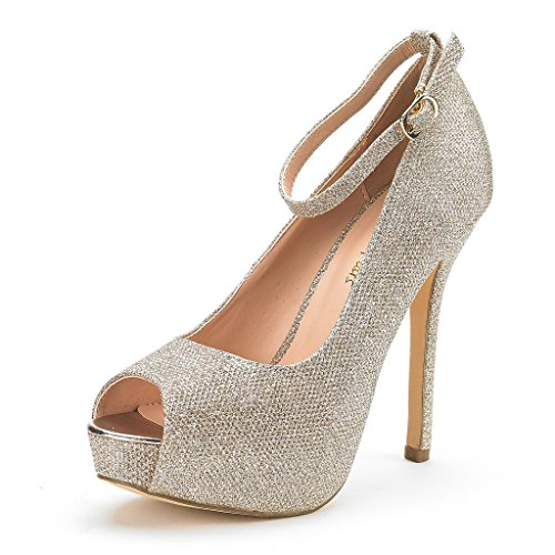 Gold High Heel Pump (Dream Pairs Women's Swan-10 Gold Glitter High Heel Plaform Dress Pump Shoes - 6.5 M US)