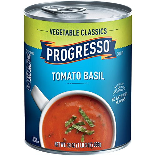 Progresso Soup, Vegetable Classics, Tomato Basil Soup, 19 oz Cans (Pack of 6)