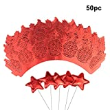 50 pcs Cupcake Wrapper Lace + 50 pcs Star Shape Cupcake Topper Dessert Decoration Sticks (RED), Laser Cut Cupcake Liners for Weddings Birthdays Tea Parties and any Special Event