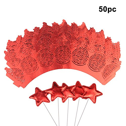 50 pcs Cupcake Wrapper Lace + 50 pcs Star Shape Cupcake Topper Dessert Decoration Sticks (RED), Laser Cut Cupcake Liners for Weddings Birthdays Tea Parties and any Special Event by XWYL