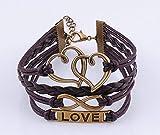 Heart Love infinity Antique Bronze Korea Velvet Leather Cute Charm Bracelet B080