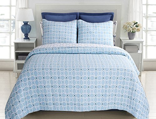 Circles King Comforter Set (Cozy Line Home Fashions Aria Quilt Bedding Set, Aqua Blue White Circle Square Printed 100% COTTON Reversible, Bedspread Coverlet Gifts for Boy/Men/Him New Arrival ! (Blue Geometric, King - 3 piece))