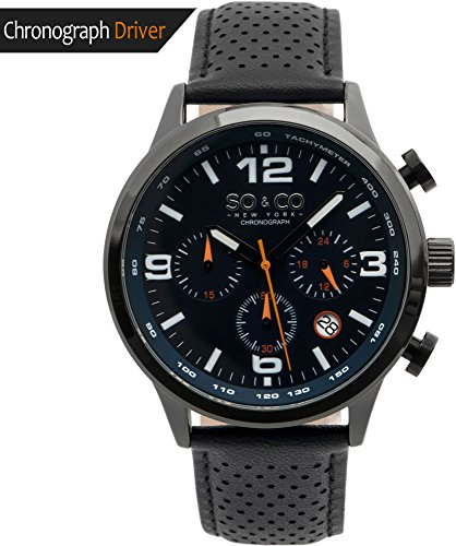 Dial Chronograph Blue Bezel (So and Co NY Men's Monticello watch - Quartz Metal and Leather Sport - stainless steel (Blue))
