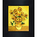 overstockArt Van Gogh Vase Painting with Fifteen Sunflowers Painting with New Age Wood Frame, Black Finish