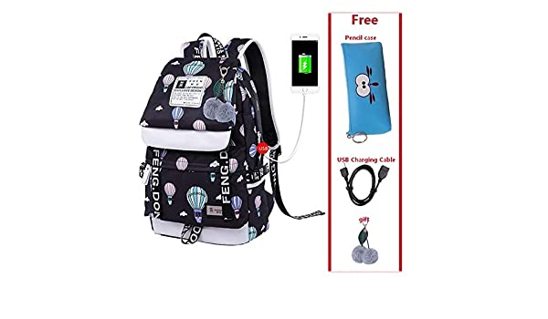 Amazon.com: Female student school bag waterproof USB Laptop ...