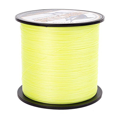 HERCULES Super Strong 1000M 1094 Yards Braided Fishing Line 20 LB Test for Saltwater Freshwater PE Braid Fish Lines 4 Strands - Fluorescent Yellow, 20LB (9.1KG), -