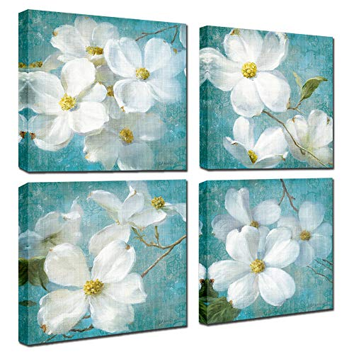 White Magnolia Orchid Flower Canvas 4 Panel Vintage Blue Floral Wall Art for Dinning Room Kitchen Wall Decor,Framed (Blue Flowers, 12x12inchx4pcs (30x30cmx4pcs))