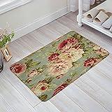 Infinidesign Welcome Doormat Kitchen Floor Bath Entrance Mat Rug Indoor/Front Door Thin Mats Rubber Non Slip 18''x30'' Antique Flowers Welcome