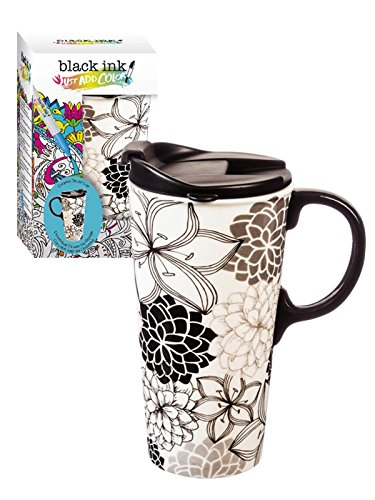 Floral Medley 17 OZ Ceramic Travel Cup - 4 x 5 x 7 Inches