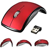 Blansdi 2.4GHz USB Wireless Cordless Optical Mouse Mice For PC Laptop (.Red Foldable)