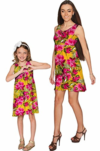 a4cc0e0151d68 PINEAPPLE CLOTHING Indian Summer Sanibel Empire Waist Floral Mommy and Me  Dresses 4 X-Large