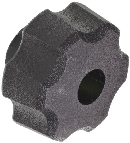 DimcoGray Black Thermoplastic Fluted Torque Knob Female, Thru Hole Brass Insert: 5/16-18