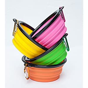 LukPaw Dog Bowl Travel cup for Dog, Collapsible Pet bowl,Foldable Expandable dish for Pet Dog/Cat Food Water Feeding Portable Travel Bowl 4-Pack with Free Carabiner (Parent) (4 Colors)