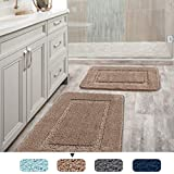 """H.Versailtex Upgrade 2 Size Super Soft Tufted Bath Mat Floor Rugs Machine Washable Bath Rugs Set for Bathroom/Kitchen Dry Fast Water Absorbent Bedroom Area Rugs (Pack 2-20"""" x 32""""/17"""" x 24"""") Taupe"""