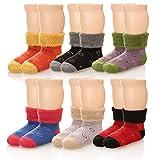 Eocom 6 Pairs Children's Winter Thick Warm Wool Socks Soft Kids Socks Random Color (0-1 Years, Heart)