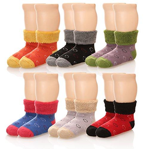 Eocom 6 Pairs Children's Winter Thick Warm Wool Socks Soft Kids Socks Random Color (0-1 Years, ()