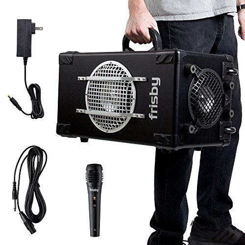 (Frisby FS-4300BT 2.1 Ch Bluetooth Portable Karaoke Home Audio Speaker Heavy Duty Trolley System w/Wired Microphone, SD USB Reader - Excellent Sound Quality with Clear Loud Audio)