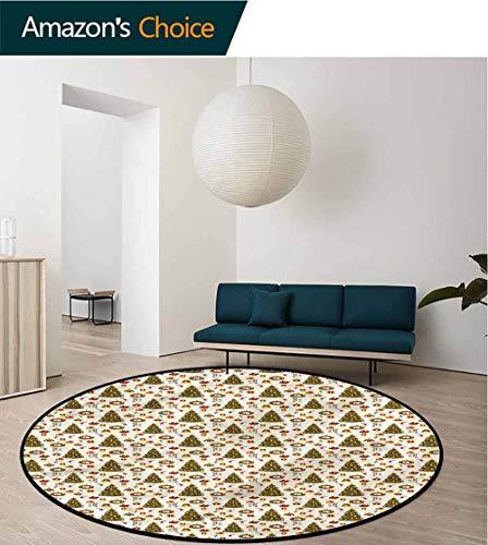RUGSMAT Christmas Super Soft Circle Rugs for Girls,Poinsettia Flowers Non-Slip No-Shedding Kitchen Soft Floor Mat Diameter-47