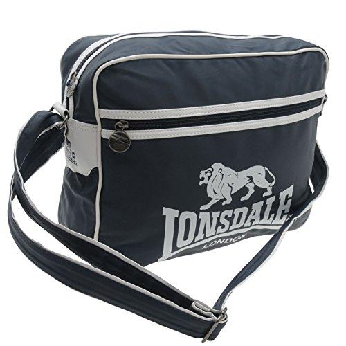Lonsdale , Borsa Messenger  blu/bianco H 30 x L 40 x P 12 cm