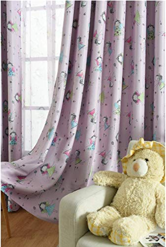 TIYANA 2 Panels Pink Curtains for Girls Bedroom 96 inches Long with Grommets Custom Princess Printed Pink Drape Cartoon Window Coverings for Girls Set of 2, 75