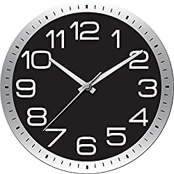 Ashton Sutton HOC021 QA Round Modern Wall Clock, 22-Inch, Chrome