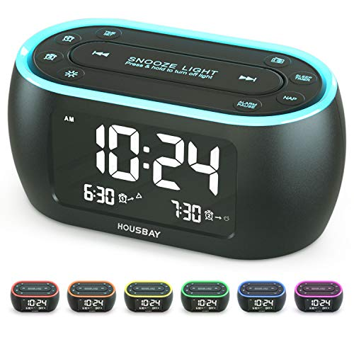 Housbay Glow Small Alarm Clock Radio for Bedrooms