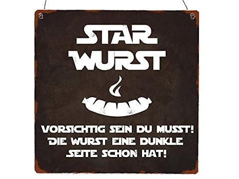 INTERLUXE Cartel de Madera XL Star Wurst Grillen Star Wars ...
