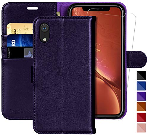 (iPhone XR Wallet Case,6.1-inch,MONASAY [Glass Screen Protector Included] Flip Folio Leather Cell Phone Cover with Credit Card Holder for Apple iPhone XR)