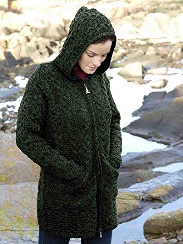 100% Merino Wool Aran Crafts Ladies Zip Zig Zag Jacket Green (S, ()