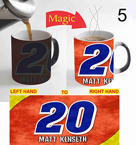 MATT Auto Car Racing KENSETH Image on CERAMIC BLACK Coffee Magic Mug Heat Sensitive Color Changing Christmas XMAS Halloween Kids Gift with FREE Wooden Key Chain Same Image