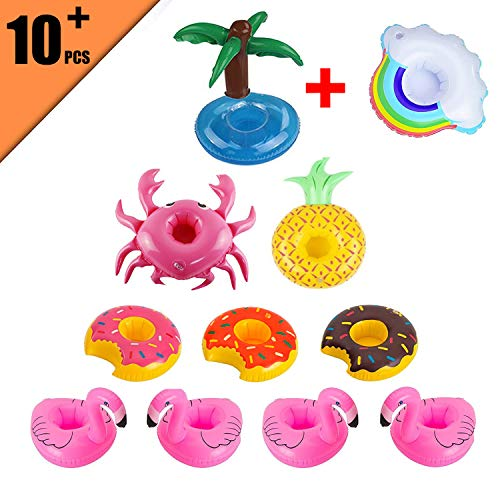Ferdira 10 Pack Inflatable Drink Holder-Fruit Flamingo Doughnut Palm Trees Crab Inflatable Pool Cup Holders Coasters Supply for Pool Party Water Fun